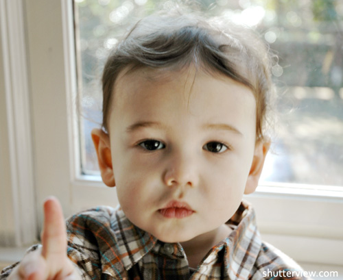 boy with finger